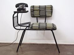 Vintage Mid Century Wrought Iron Gossip Telephone by ljindustries, love love love! I need this for my house! Telephone Table, Vintage Telephone, Mid Century Decor, Mid Century Furniture, Mesa Retro, Gossip Bench, Vintage Home Accessories, Vintage Decor, Mcm House