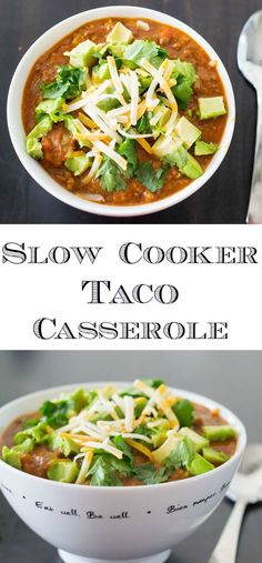 Easy and Delicious Slow Cooker Taco Casserole! Perfect for a busy weekday, and can also be made in an Instant Pot! If your family loves tacos but you're short on time, this recipe will be your new weekday favourite! Served over rice and topped any way you Slow Cooker Tacos, Slow Cooker Recipes, Mexican Food Recipes, Crockpot Recipes, Soup Recipes, Healthy Recipes, Ethnic Recipes, Delicious Recipes, Kitchen Recipes
