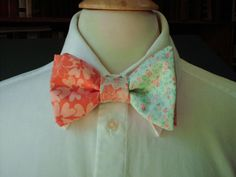 Mint And Coral Floral Bow Tie / Custom Made by CarolynnRedwineGeer