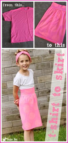 T-shirt to Skirt - the perfect summer playskirt! - Sugar Bee Crafts : this is so easy to make from a t shirt, and so cute! T-shirt to Skirt - the perfect summer playskirt! Sewing Hacks, Sewing Tutorials, Sewing Crafts, Sewing Patterns, Sewing Tips, Diy Clothing, Sewing Clothes, Diy Rock, Diy Vetement