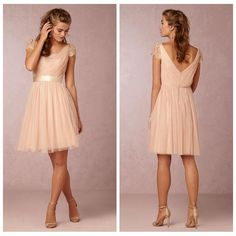 Long Bridesmaid Dress Blush Soft Tulle Bridesmaid Dresses Short Lace Cap Sleeves Cheap Maid Of Honor Knee Length Dress 2015 Vestido De Festa De Casamento Long Bridesmaids Dresses From Graceful_ladies, $66.65| Dhgate.Com