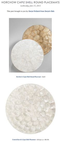 COPY CAT CHIC FIND: Horchow's Capiz Shell Round Placemat VS Crate & Barrel's Capiz Shell Placemat