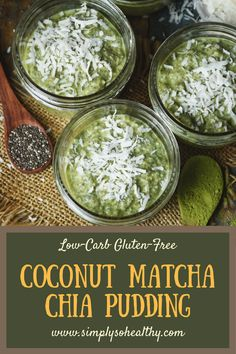 Low-Carb Coconut Matcha Chia Pudding - Keto Vegetarian - Ideas of Keto Vegetarian - This Low-Carb Coconut Recipe makes a satisfying and nutritious breakfast. Its a make-ahead treat that can be enjoyed as part of a Coconut Recipes, Diet Recipes, Healthy Recipes, Cleanse Recipes, Keto Chia Seed Recipes, Lunch Recipes, Chia Recipe, Pudding Recipe, Trifle Recipe
