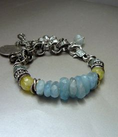 Aquamarine and Agate Bracelet with Sterling and Mixed Silver Metals and Charms