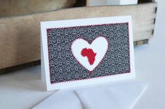 Items similar to I Heart Africa Brown and Red Shweshwe fabric sewn card on Etsy African Christmas, African Crafts, Leather Crafts, Crafty Craft, African Fabric, Blank Cards, Homemade Cards, Fundraising, South Africa