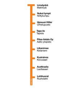 Muutama vuosi sitten me täällä Kasper Diem -blogissa teimme anagrammeja Helsingin metroasemista. Ne olivat oikein hauskoja, ja niistä riittikin iloa vuosiksi. Ai että ne olivatkin hauskoja. Nyt on …
