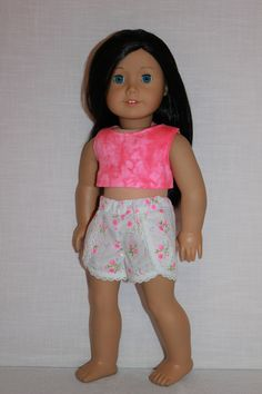 18 inch doll clothes pink crop top white and pink by UpbeatPetites