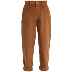 Miu Miu Mid-rise cotton-corduroy boyfriend trousers ($895) ❤ liked on Polyvore featuring pants, relaxed fit corduroy pants, cotton trousers, mid rise pants, brown corduroy pants and brown slim pants
