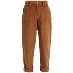 Miu Miu Mid-rise cotton-corduroy boyfriend trousers ($895) ❤ liked on Polyvore featuring pants, miu miu, trousers, brown, brown pants, relaxed fit corduroy pants, brown slim pants, mid rise pants and retro pants