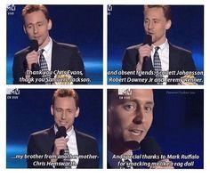 Tom Hiddleston's acceptance speech