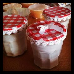 My decorated Bonne Maman jam jars scented soy candles