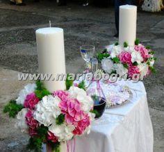 === Μαρία Μπόγρη === Δημιουργίες γάμου, βάπτισης: ΛΑΜΠΑΔΕΣ ΓΑΜΟΥ ΜΕ ΦΡΕΣΚΟ ΛΟΥΛΟΥΔΙ Island Theme, Pillar Candles, Vase, Table Decorations, Flowers, Wedding, Design, Home Decor, Valentines Day Weddings