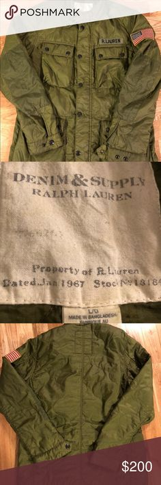 Denim & Supply Ralph Lauren Military USA Jacket Denim & Supply Ralph Lauren Military USA Jacket  -Zipper and snap buttons  -Size Large  -4 ergonomic pockets  -Olive green -Retailed for $200+ -In excellent pre-owned condition, no flaws  -Tap in Denim & Supply Ralph Lauren Jackets & Coats Military & Field