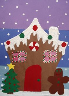 Cute gingerbread houses, good Christmas lesson where students have room to get creative.