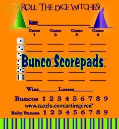 Add festive Bunco score pads to your party. www.zazzle.com/artinspired*