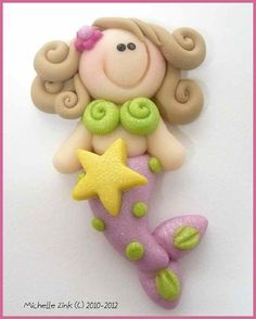 Polymer Clay Bead or Bow Center Mermaid in by michellesclaybeads, $3.00