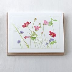 This beautiful set of five floral note cards features a watercolor painting I did of a patch of wildflowers near where I live. Cosmos, malva and cornflowers. Watercolor Poppies, Watercolor Journal, Watercolor Plants, Watercolor Cards, Watercolor Painting Techniques, Watercolor Paintings, Watercolors, Paint Cards, Learn To Paint