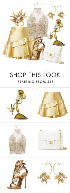 """""""Lumiere Beauty and the Beast Disney Style"""" by kathrynesker on Polyvore featuring Martha Medeiros, Chanel, Giuseppe Zanotti and Schield Collection"""
