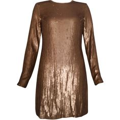 Pre-owned Diane Von Furstenberg Sequinned 'Pauletta' Mini Dress ($245) ❤ liked on Polyvore featuring dresses, metalic, brown dresses, short dresses, sequin mini dress, long sleeve sequin cocktail dress and sequin cocktail dresses