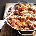 Baked Rigatoni and Meatballs—The meatballs take a little time to prepare, but they boost this pasta dish to a deliciously flavourful meal.