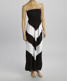 Another great find on #zulily! Black & White Chevron Strapless Maxi Dress by POPULAR BASICS #zulilyfinds