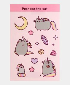 This pastel sticker set features 14 individual peel off stickers of Pusheenicorn and her little sister Stormicorn! Sticker set measures x The individual peel off stickers each measure about to High quality durable and weather proof vinyl. Pusheen Stickers, Cute Stickers, Pusheen Cute, Pusheen Shop, Pusheen Stuff, Colorful Slime, Logic Design, Whatsapp Wallpaper, Nyan Cat