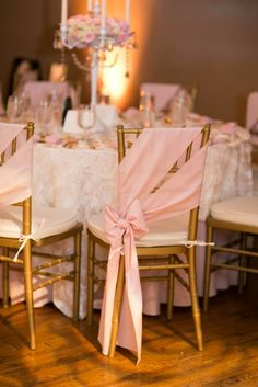 Pink Ribbon Chair Covers with Candelabra Centerpieces // gold chairs, romantic wedding, blush wedding, classic, Rose Wedding, Diy Wedding, Dream Wedding, Wedding Day, Wedding Blush, Luxury Wedding, Wedding Reception Chairs, Wedding Table, Event Planning