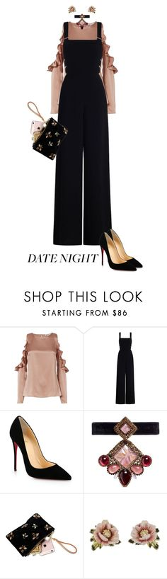 """Black Jumpsuit"" by sara12alexandra ❤ liked on Polyvore featuring Cushnie Et Ochs, Zimmermann, Christian Louboutin, Erickson Beamon and Les Néréides"