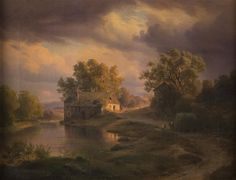Grogan and Company : Full Details for Lot 133: PAUL WEBER  (German/American, 1823-1916)  LANDSCAPE OVER FARM AT SUNSET  1850; oil on canvas;  signed Paul Weber 1850, l.l.;  17 1/2 x 22 1/2 in. (19 x 24 1/4 in.)   Estimate $800-1,200   Condition: Yellowed resin vanish; craquelure throughout; creasing along the stretcher bars.  Hammer: $3,000