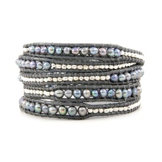 Grey Pearl Wrap Bracelet with Sterling Silver on Grey Leather