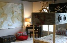 Cool kid's pirate room, world map, anchor, ship, skull & bones, ahoy, matey, boy's room.