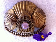 Vintage Seashell Pin, Artisan Made, 1940's, Filigree and Purple Cats Eye Stone, Made With Love - pinned by pin4etsy.com