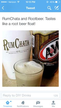 RumChata and Rootbeer, just another way to enjoy this divine alcoholic drink. Se… RumChata and Rootbeer, just another way to enjoy this divine alcoholic drink. Seriously Rumchata is amazing Party Drinks, Cocktail Drinks, Fun Drinks, Cocktail Recipes, Drink Recipes, Manly Cocktails, Cocktail Glass, Top Recipes, Cold Drinks