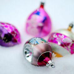 Glistening, girly hued vintage Christmas ornaments