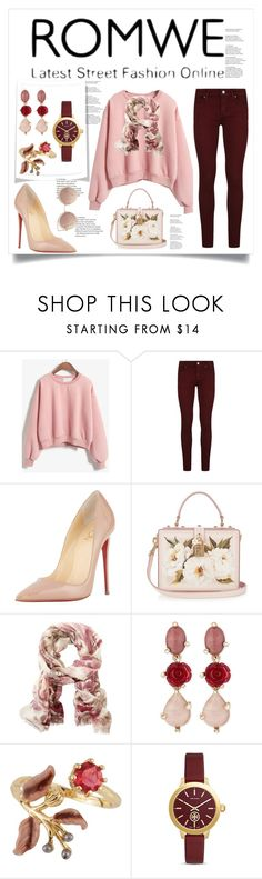 """""""ROMWE PINK SWEATSHIRT"""" by christinadrussell ❤ liked on Polyvore featuring Paige Denim, Christian Louboutin, Dolce&Gabbana, TravelSmith, Oscar de la Renta, Les Néréides, Tory Burch and MANGO"""
