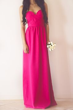 One and Only Pink Strapless Long Maxi Dress<br/><div class='zoom-vendor-name'>By <a href=http://www.ustrendy.com/honey-peaches>Honey Peaches</a></div>