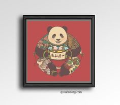 S004- Circle of Harmony  Inspired by old Chinese New Year Poster. Every tattoo on panda symbolizes something good.  *Frame not included*     Please kindly let me know which version you preferred on your checkout note.  Size: 21 x 21cm (A4) 250GSM Texture paper  Each print i...
