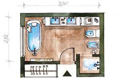 Tres baños en blanco y gris  Plano del baño.