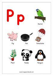 Objects Starting With Alphabet - P | Alphabet worksheets preschool,  Alphabet pictures, Alphabet preschool