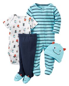 This babysoft cotton set is complete with a sleep & play plus a matching bodysuit, pants and cap to keep him cuddly from head to toe. A perfect gift for him first days home.