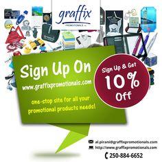 If you consider promotional products as one of the important marketing strategies for your brand, Signup now with Graffix Promotional and get 10% off. The best quality customised promotional products for your brand.