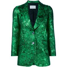 Gucci Iridescent Floral Brocade Jacket ($2,110) ❤ liked on Polyvore featuring outerwear, jackets, blazer, gucci, green, straight jacket, floral print jacket, brocade blazer, brocade jacket and floral blazer jacket