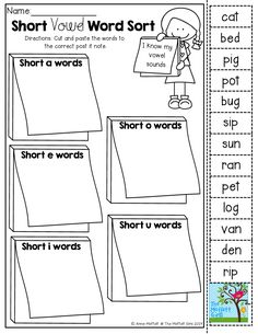 Short vowel word sort (cut and paste)! TONS of Back to School printables!