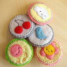 Embroidered brooch pins - these are so ADORABLE! Totally wouldn't wear them, I would just...have them...