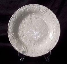 White Majolica Style Strawberry Grape Leaf Dinner Plate Davenport Burleigh