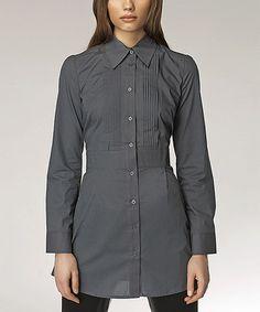 Look at this #zulilyfind! Gray Button-Up Tunic #zulilyfinds