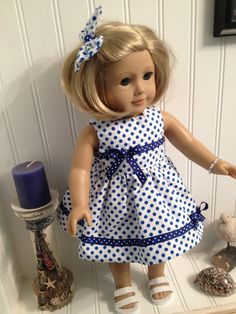 Royal Blue Polkadot Dress Set.  Just off-setting the bows on the ribbon trim perks it up even more than it is.