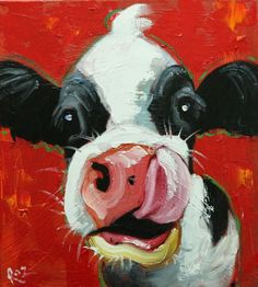 Cow painting 1334 inch original animal portrait oil painting by Roz