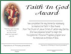 Faith in God Award Certificate (one for girls, one for boys)