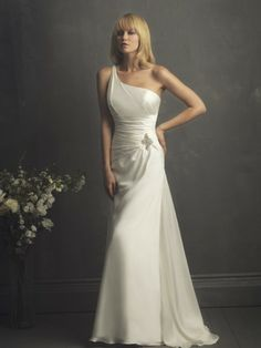 Colonne une épaule robe de mariée en satin
